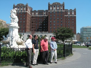 For Ross (on the far right) and Thalken (second from left), the journey began on a tour of the Grand Concourse with Bronx historian Peter Derrick last summer